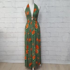 ILLA ILLA Tropical Halter Maxi Dress
